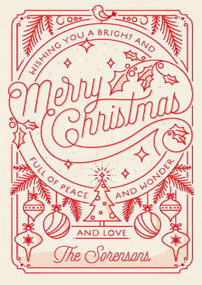 Merry Little Line Drawing Holiday Card From Minted Com Christmas Card Design Christmas Illustration Christmas Graphics