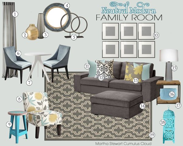 Neutral Modern Living Room Mood Board