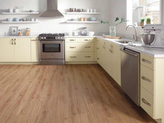 Minimal White Kitchen. Luxury Vinyl Flooring Classic Plank