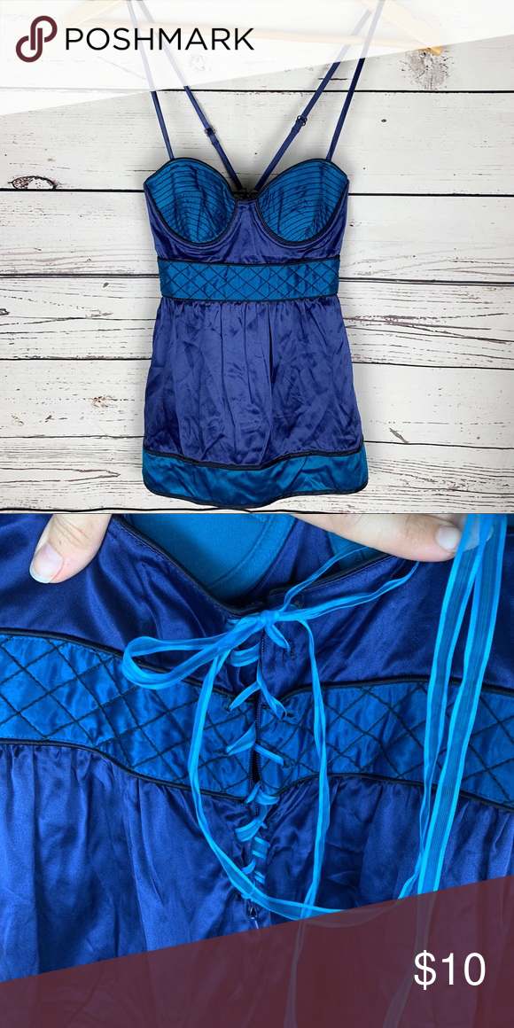1aa569cedf Proenza Schouler for Target   Blue Bustier Top Super cool blue satin bustier  top, unfortunately the zipper no longer works in the back. A ribbon has  been ...