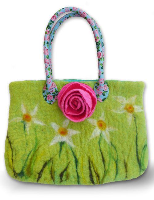 Handmade felt bag by Gillian Harris with new flower handbag handles from Gilliangladrag