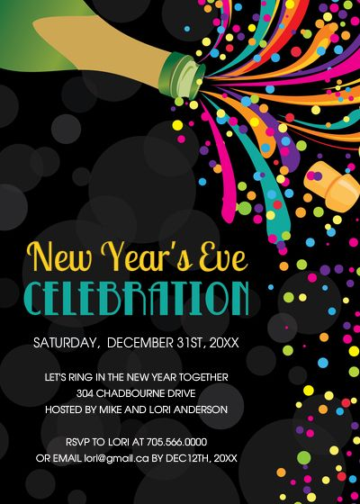 New Year S Eve Party Invitations Invitations Cards On Pingg Com Party Invite Design Colorful Invitations Party Invitations