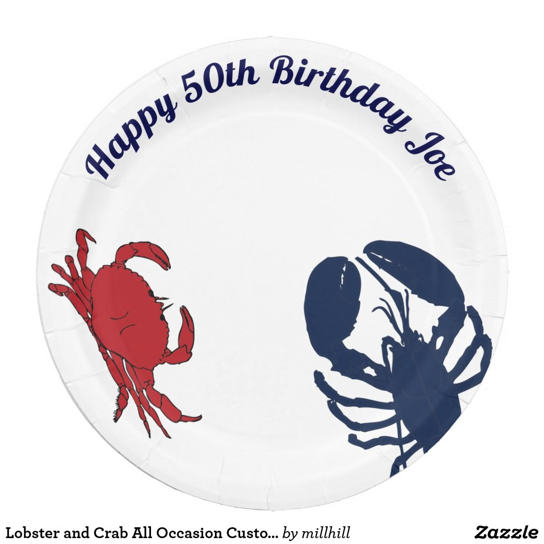 Lobster and Crab All Occasion Custom Paper Plates  sc 1 st  Pinterest & Lobster and Crab All Occasion Custom Paper Plates | Birthdays