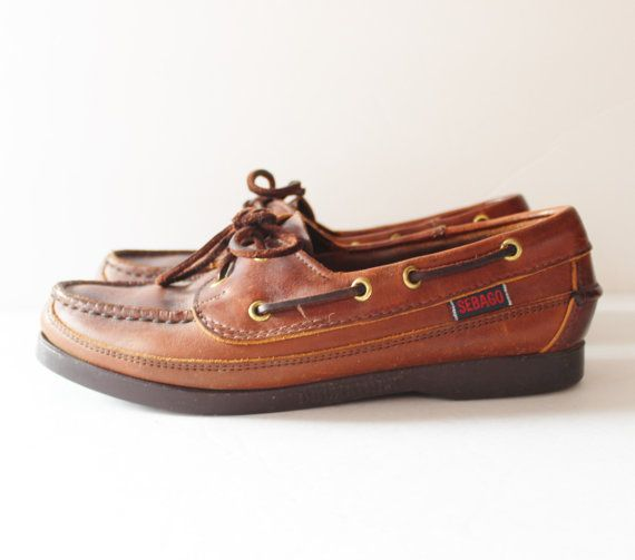 Vtg 80s SEBAGO Docksides Shoes - Brown Leather Women 6.5M - Made in America