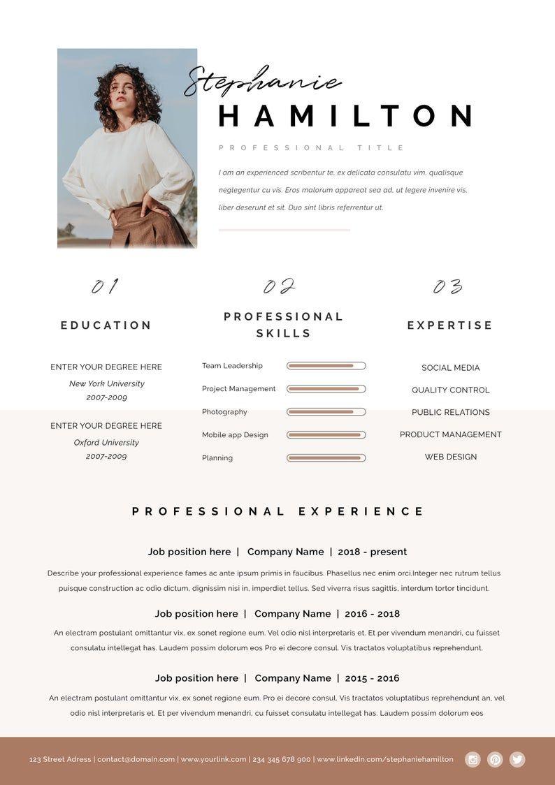Resume Template Resume Cv Template Cv Design Curriculum Etsy In 2020 Graphic Design Resume Cv Design Resume Design