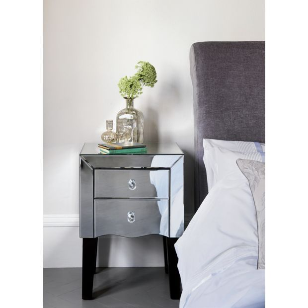 Buy Home Of Style Leonessa Mirrored Bedside Chest At Argoscouk