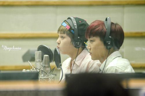 Kai, Xiumin - 130912 KBS-R Cool FM Super Junior's Kiss The Radio - 3/3  Credit: Angelonia. (KBS-R 쿨 FM 슈퍼주니어의 키스 더 라디오)