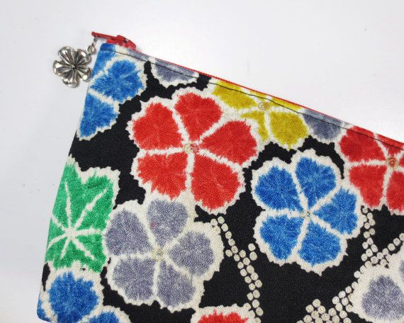 Shibori Flower & Maple Zipper Pouch/ Clutch Bag Made by KazStyle, $29.00