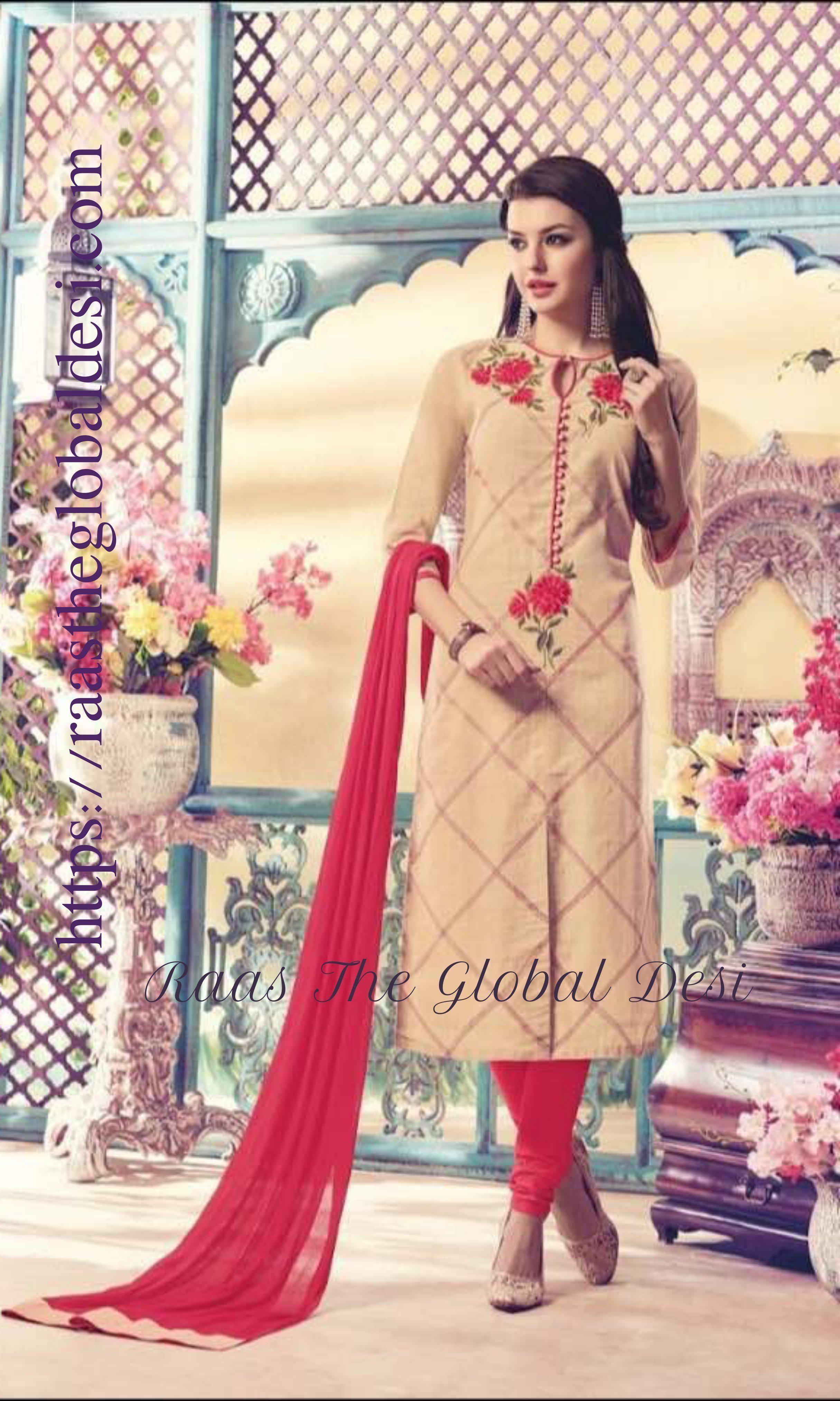 Designer embroidery salwar with matching chudidar and dupatta
