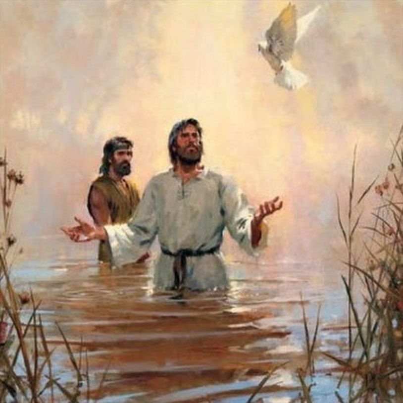 Image result for images of Jesus being baptised with the dove