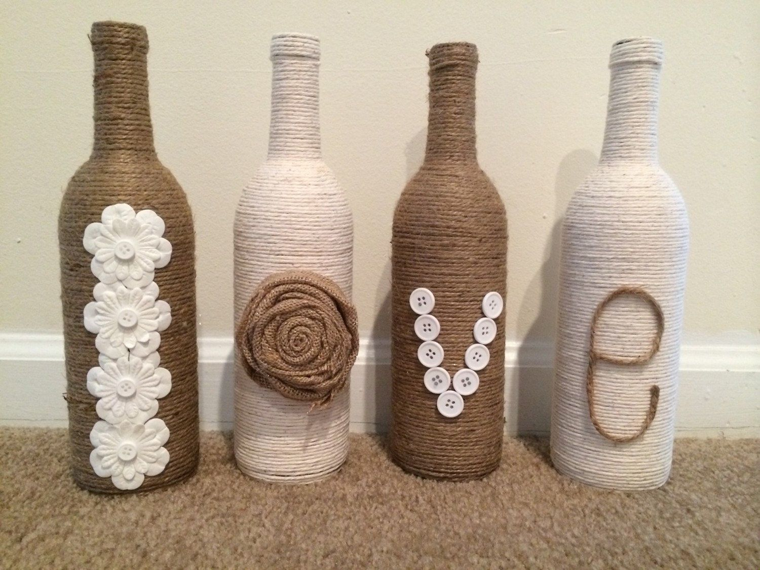 Wine Bottle Decor Love Twine Wrapped Wine Bottle Decorfindalittledream On Etsy