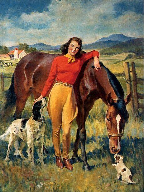 EQUESTRIAN PIN-UP GIRL HORSE HORSEBACK RIDING CALENDAR VINTAGE CANVAS ART PRINT