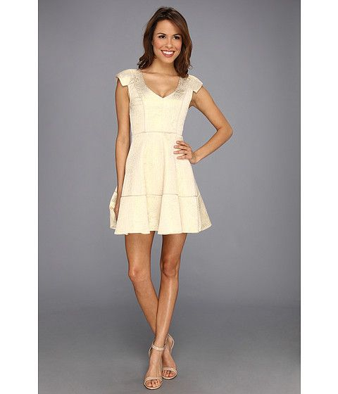 ABS Allen Schwartz Square Cap Sleeve Fit-and-Flare Dress