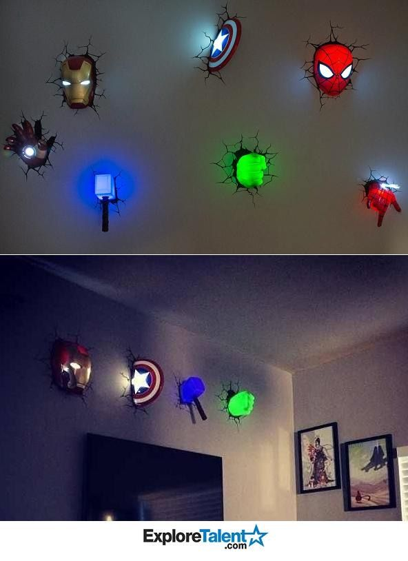 Super Hero Wall Lights Cool Bedrooms For Boys
