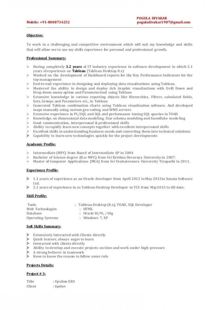 14 Tableau Resume Pattern Resume Examples Professional Growth Resume