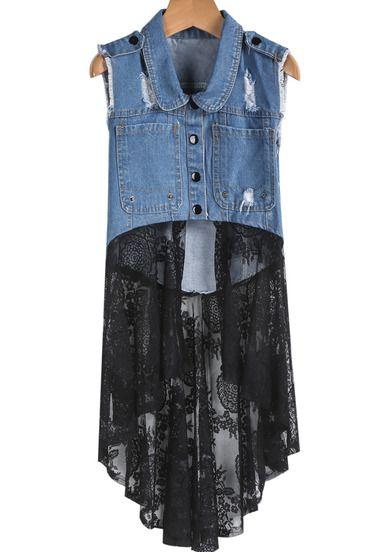 Blue Lapel Ripped Denim Contrast Black Lace Dress