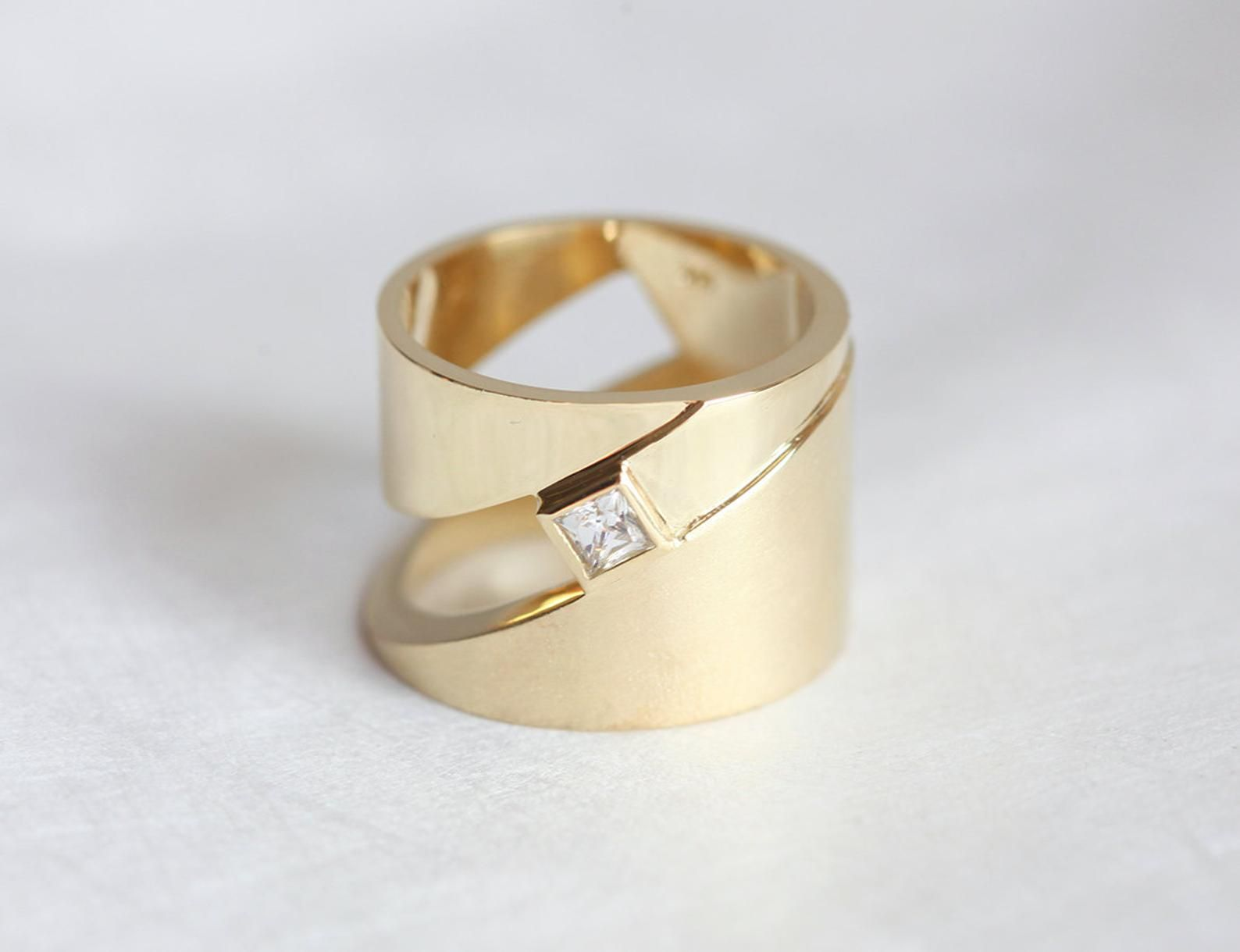 This is a photo of Extra Wide Gold band, Geometric Gold Ring with Diamond Gold