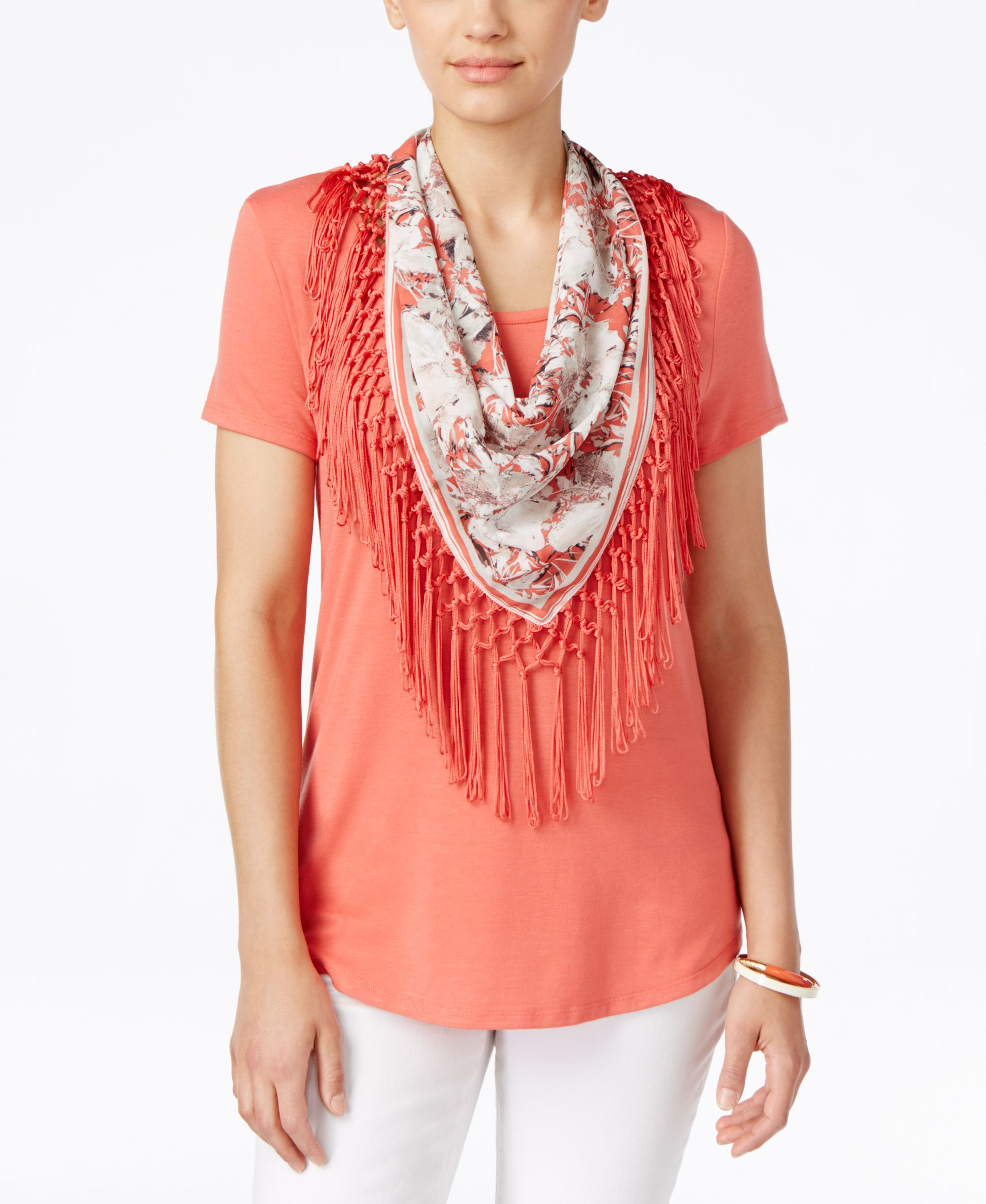 Style & Co. Fringe Scarf Top, Only at Macy's