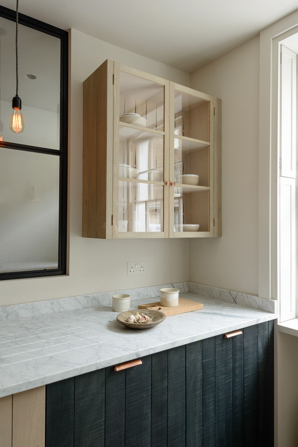 Mixing Kitchen Cabinet Colors Rough Sawn Beech Panel Doors Mixed With Smooth Honed Carrara