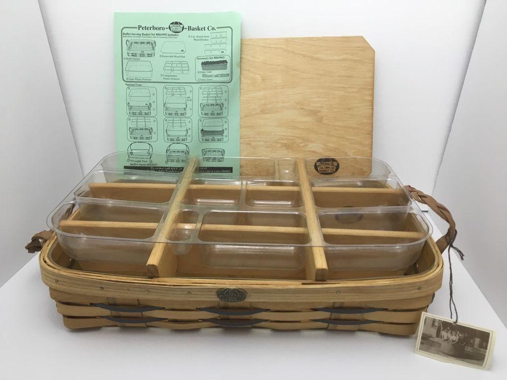 Peterboro Buffet Server Basket RETIRED Wood Divider 12 Comp/Plastic Insert NWOB