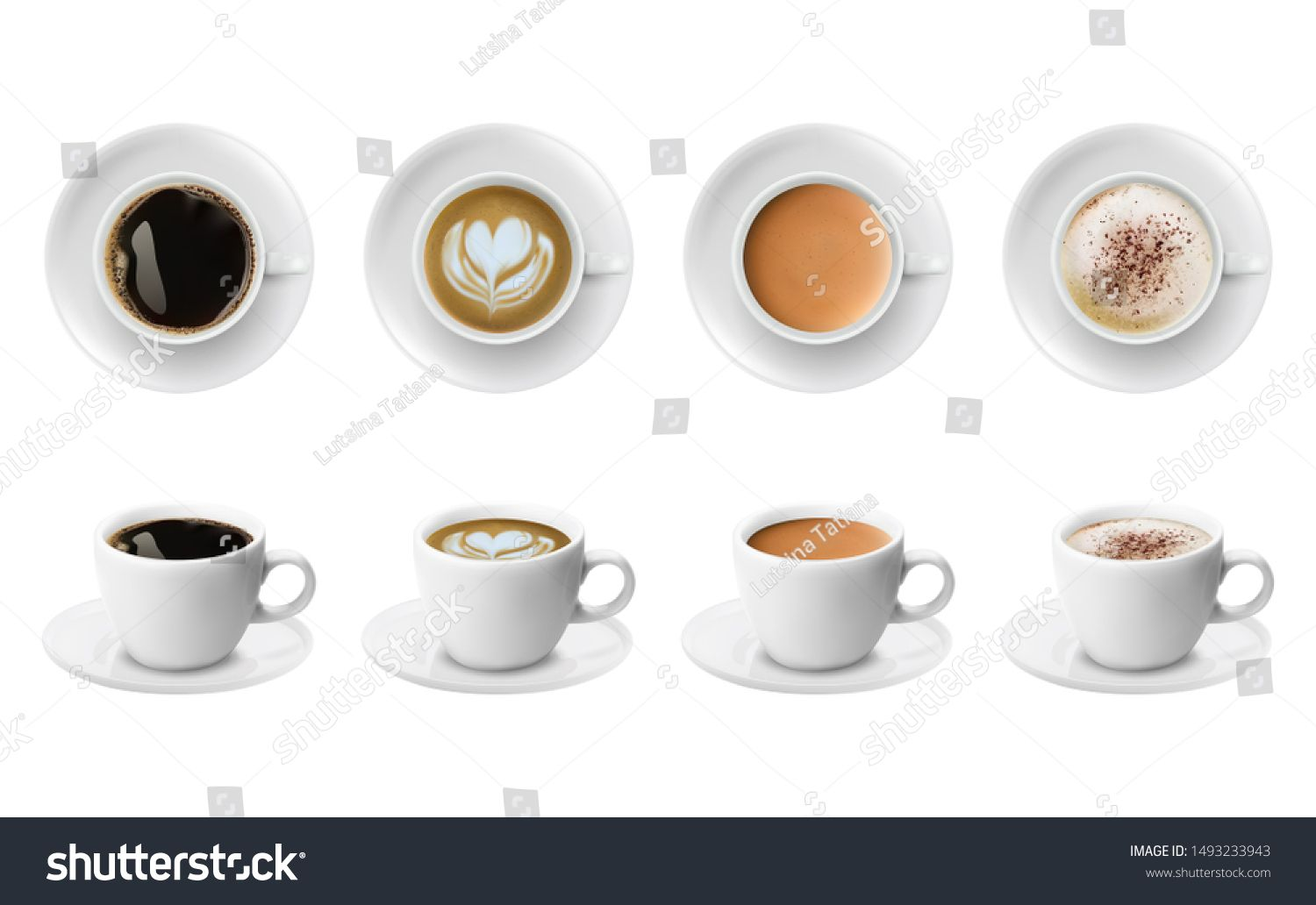 3d realistic different sorts of coffee in white cups view from the top and side. Cappuccino latte americano espresso cocoa in realistic cups. 3d model for cafe menu. #Sponsored , #Sponsored, #view#cups#side#top