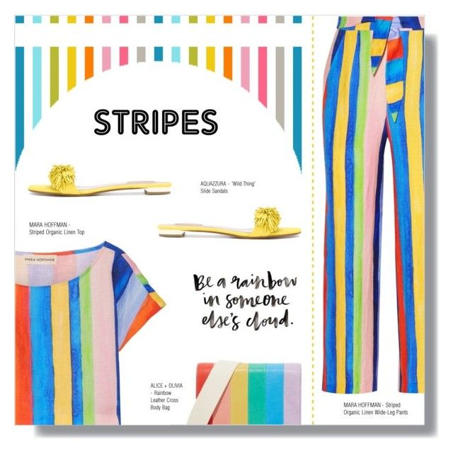 """""""STRONG STRIPES: GRAPHIC STRIPED PANTS"""" by larissa-takahassi ❤ liked on Polyvore featuring Mara Hoffman, Aquazzura and Alice + Olivia"""