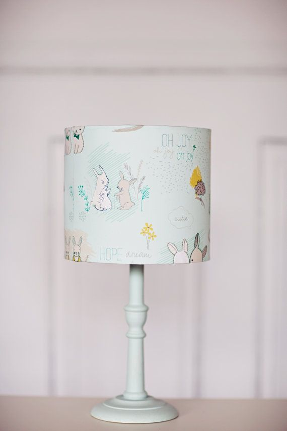 Nursery lamp shade blue nursery sale rabbit by