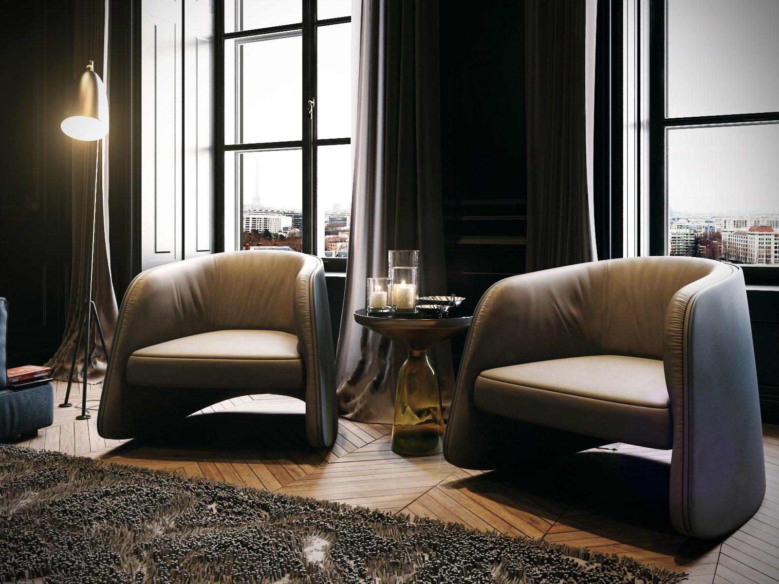 VrayWorld - Black Classic Livingroom