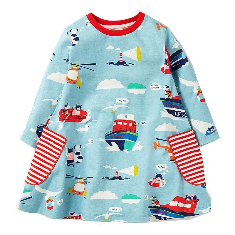 Princess Dress Long Sleeve 2017 Brand Spring Autumn Baby Girls Dress with Pocket Kids Tunic Jersey Dresses for Girls Clothes