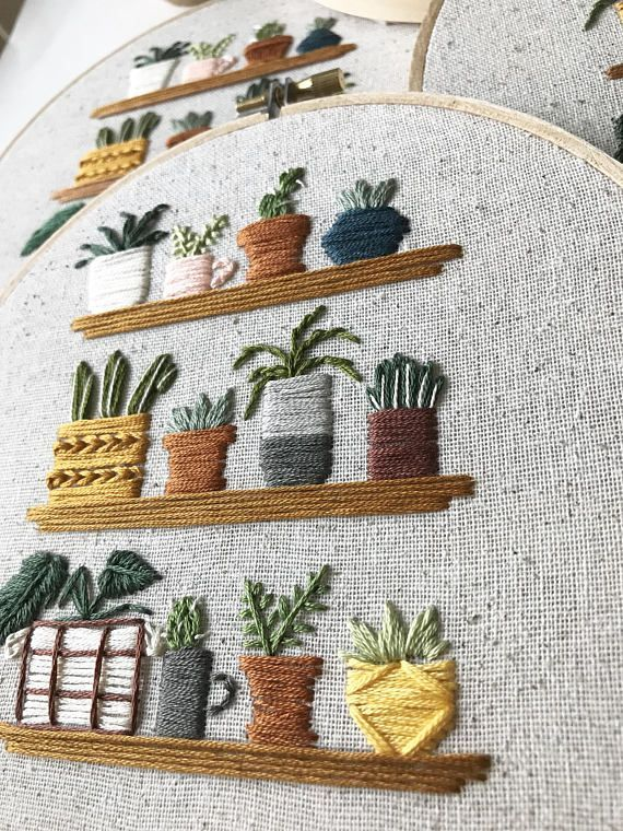 Tiny houseplants on shelves embroidered hoop #embroiderypatternsbeginner