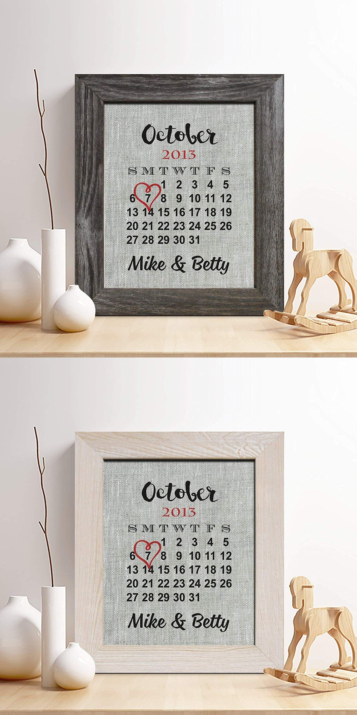 Personalized 4th Linen Anniversary Gift For Him Or Her Wedding Date Calendar Print Gifts Husband And Wife 4 Years Together