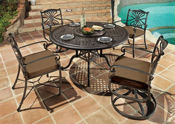 Lunch Poolside With This Bella Vista Aluminum Dining Set By