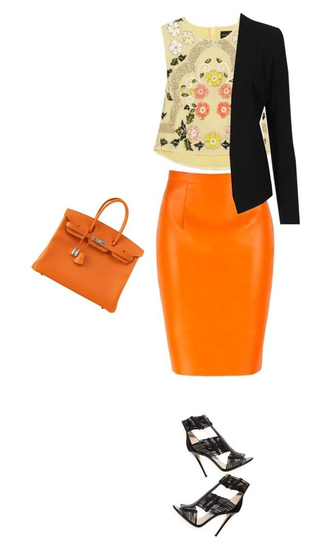 """orange"" by divacrafts ❤ liked on Polyvore featuring Needle & Thread, Topshop, Jimmy Choo, Hermès and Original"