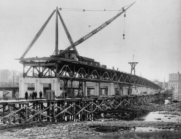 De Pere Bridge Under Construction   Photograph   Wisconsin Historical Society