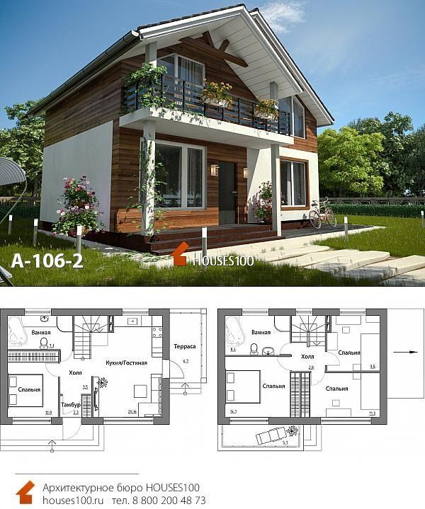 Проект дома A-106-2 (2/2) Проект дома с мансардой и ...