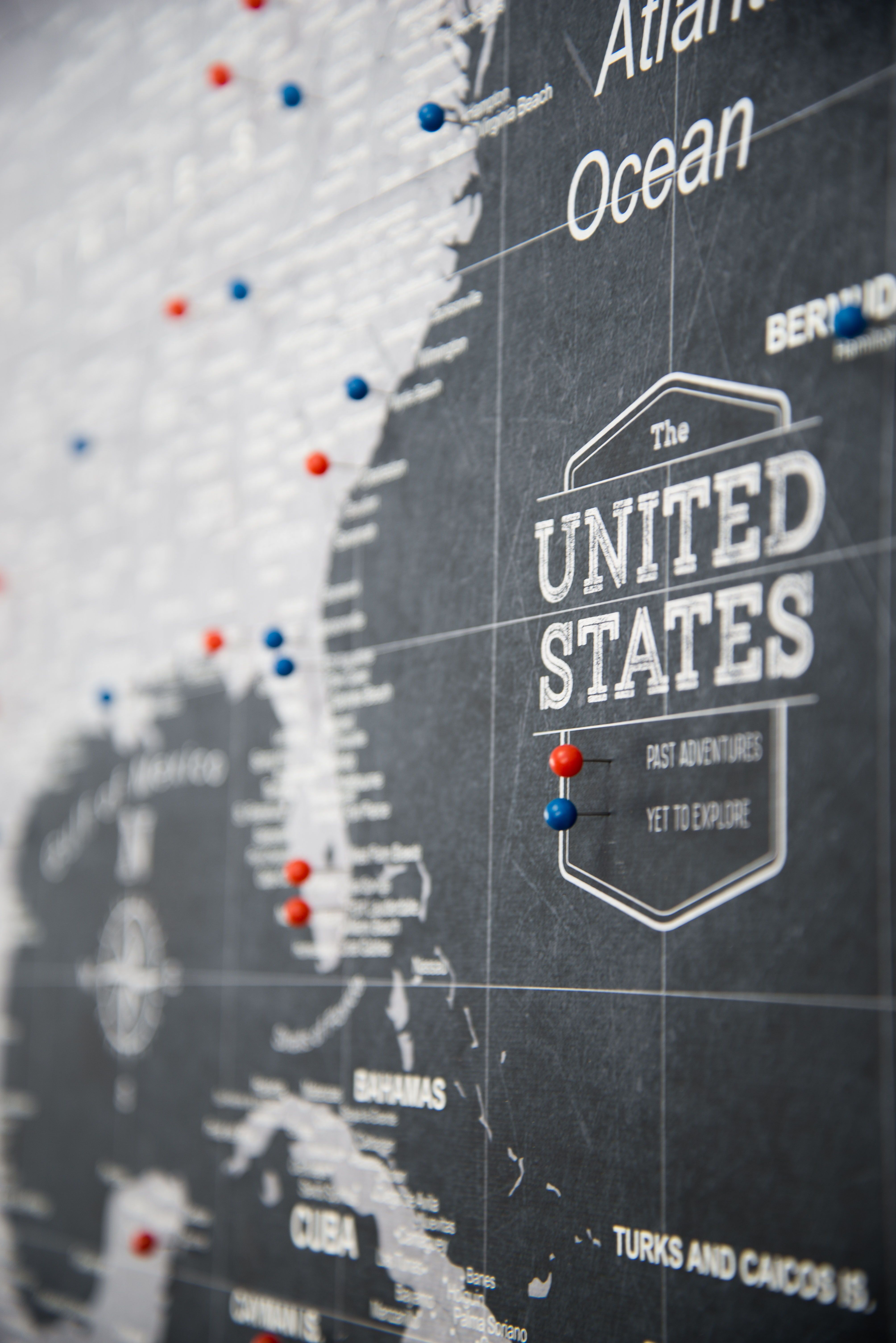Us Travel Map Push Pins Push Pin USA Map (Pin Board/Poster)   Modern Slate | Usa travel