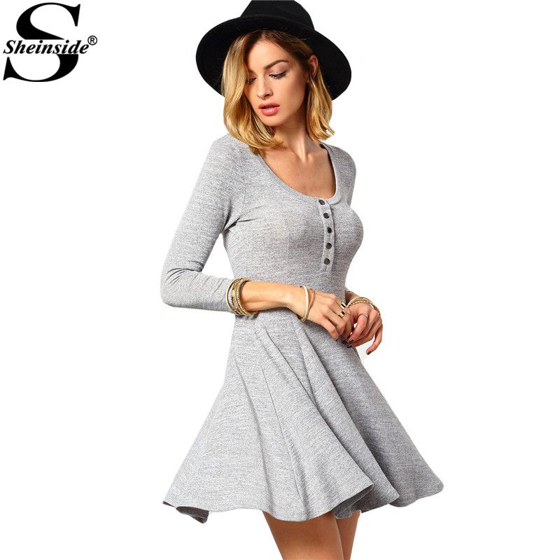 Sheinside Female Vintage Brand Newest Dresses Solid Grey Round Neck With Button Long Sleeve Slim and Flare Short Dress