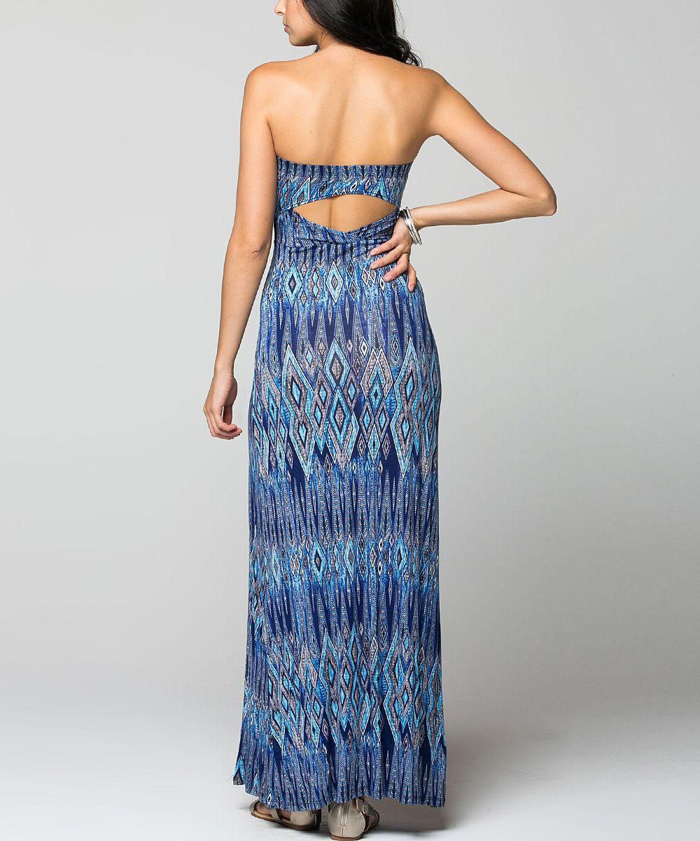 La Scala Royal Blue Abstract Cutout Strapless Maxi Dress Maxi Dress Backless Dress Formal Strapless Maxi Dress [ 1201 x 1000 Pixel ]