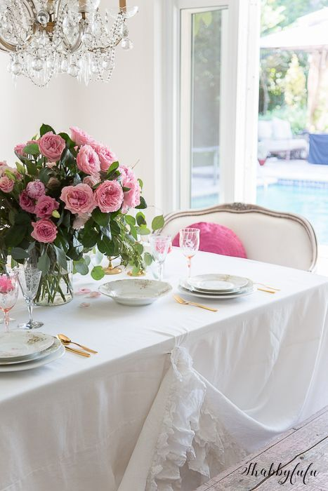 Simple Valentines Day Tablescape With No Red   Shabbyfufu