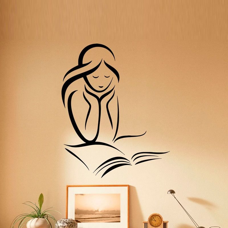 Girl Reading Books PVC Wall Stickers Reading Room Library Art Wall ...