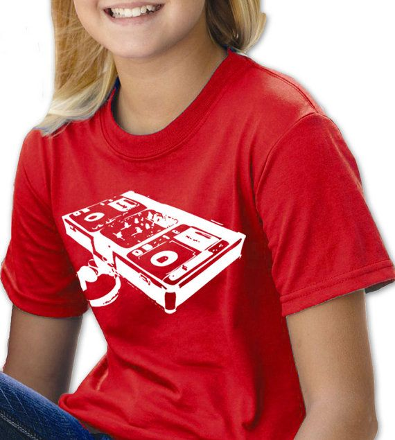 DJ Turntable Children Youth T-Shirt. Boys & Girls Hand Screen Printed Tee. Great Quality. Music Disc Jockey Turntables