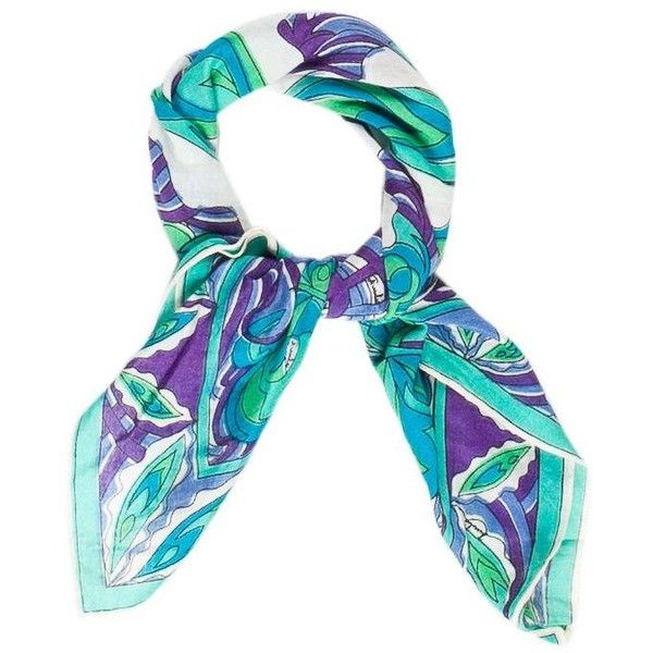 Pre-owned Emilio Pucci Abstract Printed Bandana Scarf (3.945 RUB) ❤ liked on Polyvore featuring accessories, scarves, green, teal bandana, multi colored bandanas, print scarves, colorful shawl and teal scarves