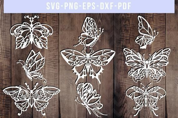 Photo of bundle of 9 butterfly papercut templates, butterfly cut files, spring paper art, scrapbook butterfly svg, butterfly silhouette, cricut, dxf
