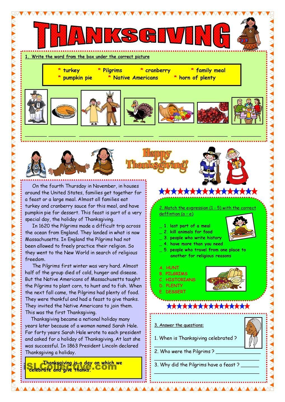 Thanksgiving Short History Vocabulary Thanksgiving History Vocabulary Thanksgiving Worksheets [ 1440 x 1018 Pixel ]