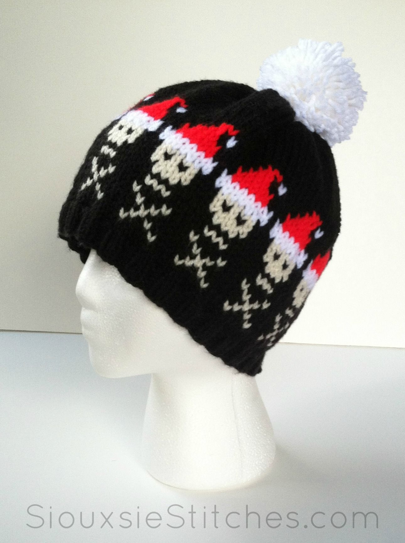 Santa Skulls Hat - a free knitting pattern from SiouxsieStitches.com ...
