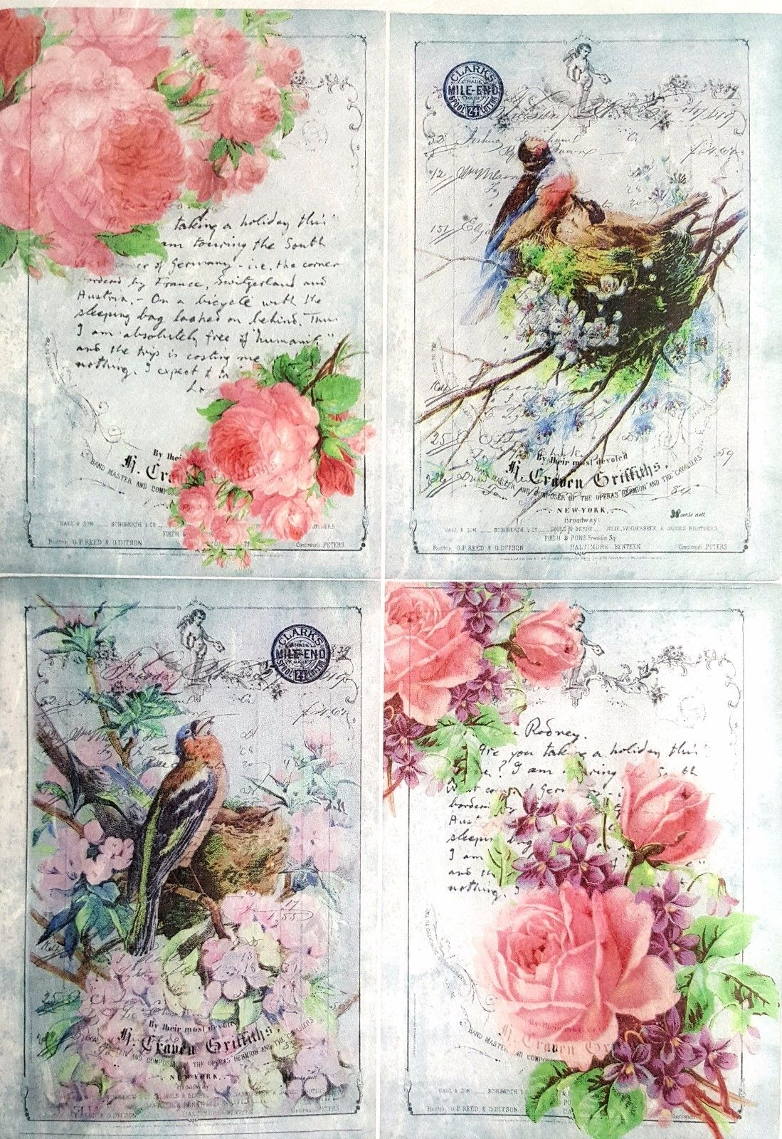 Scrapbooking Sheet Home Sweet Home Rose Big Rice Paper for Decoupage