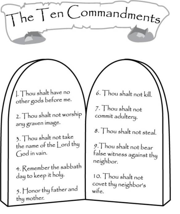 Patterns And Color Sheets Sunday School Lessons 10 Commandments