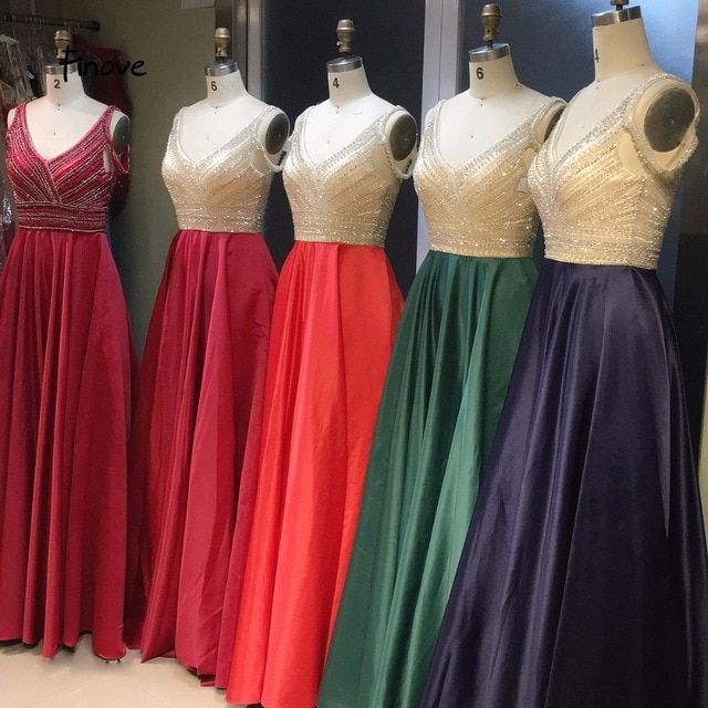 a285d7ae263 Finove Formal Dress Long 2019 Sexy V-Neck Off The Shoulder With beaded  Floor Length Evening Dresses A Line Dress Gowns For Girls Review