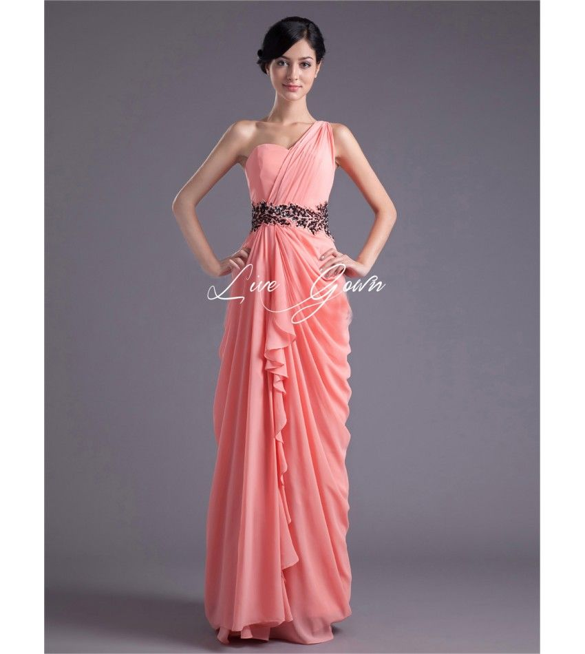 Sheath Watermelon Chiffon Beading One-Shoulder Ruched Bridesmaid Dress $130.00
