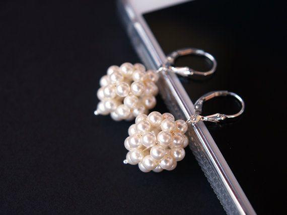 Handwoven Bridal earrings Swarovski Crystal by JewelrybyFlorist, $55.00